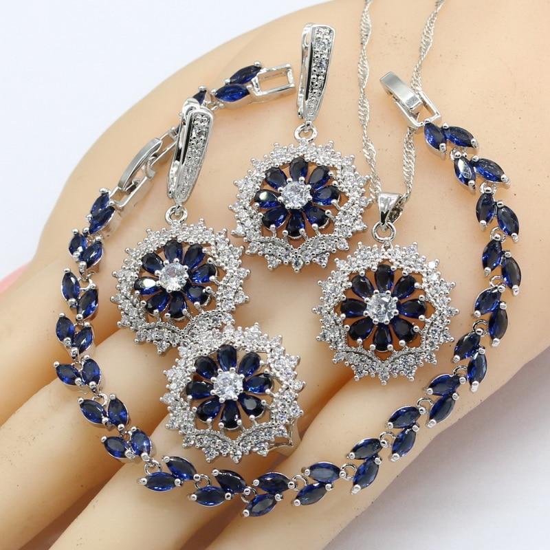Silver Color Jewelry Sets Women Dark Blue Semi-precious Necklace Pendant Bracelets Earrings Rings Christmas Gift
