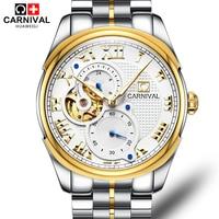 Carnival Tourbillon Watch Men Luxury Gold Automatic Mechanical Watches Business Hollow Out Mens Clock Man Wristwatch kol saati