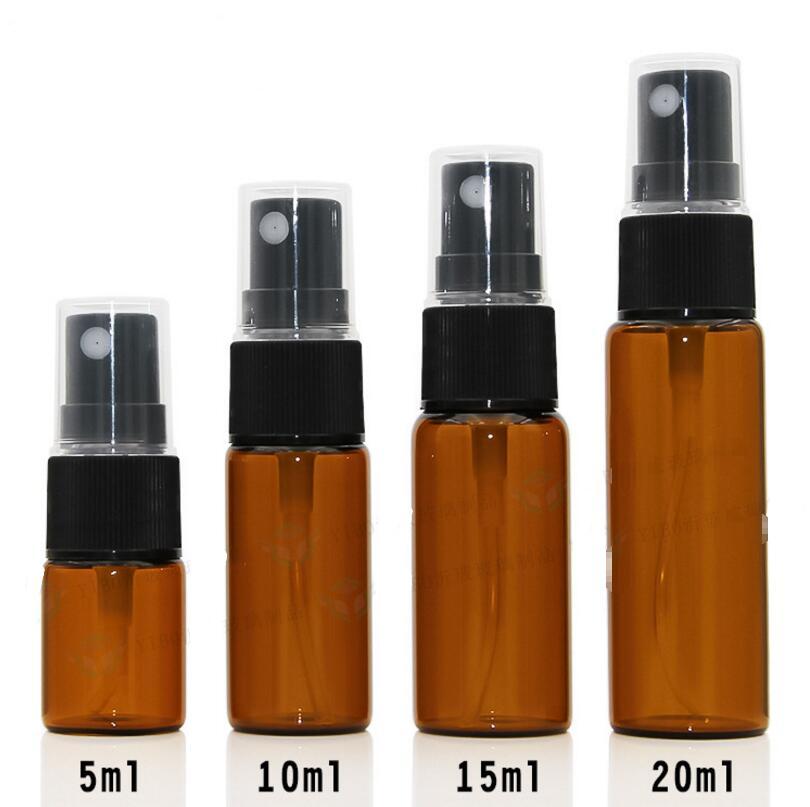 500pcs/lot 5/10/15/20 ml Empty Amber Glass Spray Bottle With Black Fine Mist Sprayer Wholesale