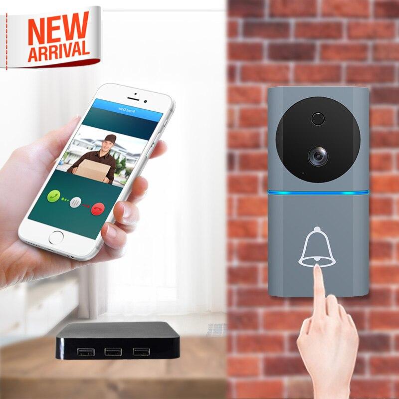 2019 New Motion Sensor Ring Doorbell Wifi Video Door Bell with 1080P Camera iOs Android Cordless Door Bell with Remote Unlock
