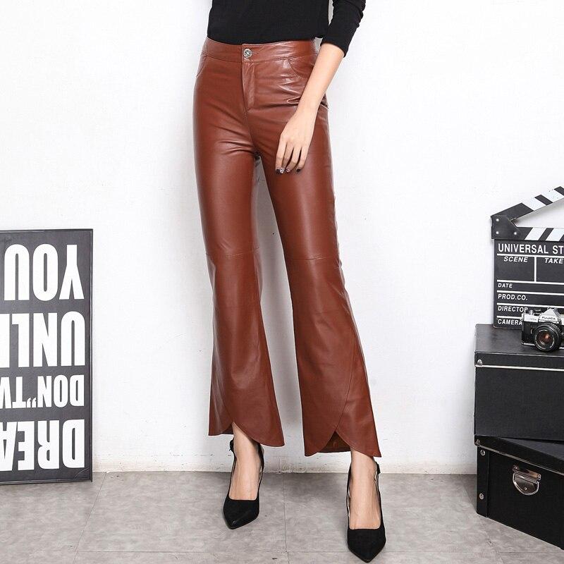 2020 novo alargamento calças das mulheres inglaterra estilo longas calças de couro genuíno senhoras magro moda calças plus size M-XXXL preto verde do exército