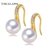 yikalaisi 925 sterling silver natural freshwater pearl stud earrings fashion jewelry for women 7 8 9 10mm pearl 2 colour