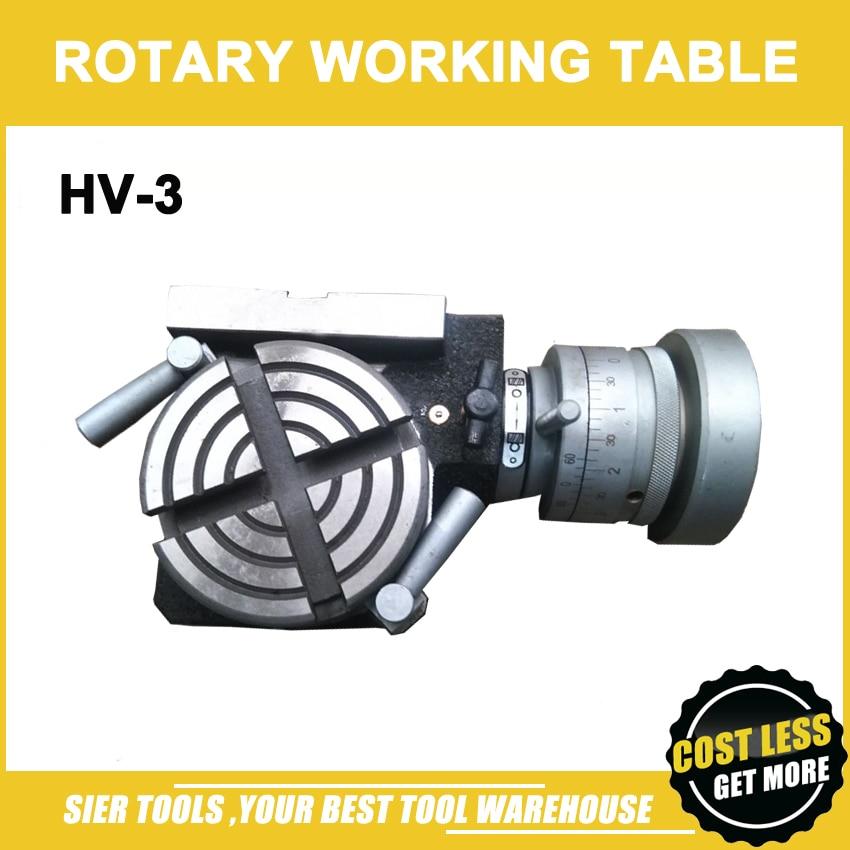 HV-3 Vertical e Horizontal de Mesa Rotativa/75mm Mini mesa de trabalho para moagem & Máquina de perfuração