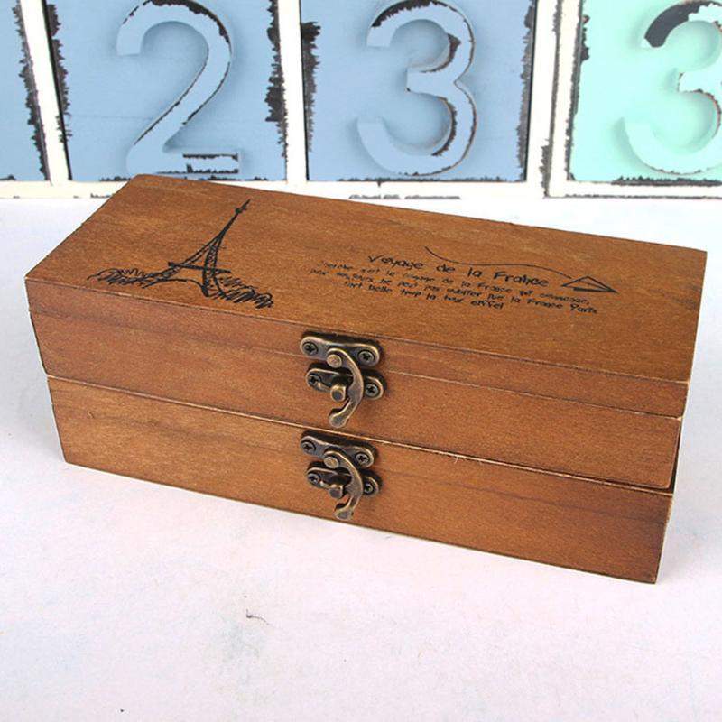 1 bolígrafo en forma de torre Retro porta lápices papelería caja de madera del almacenaje nostálgico retro rectángulo de madera 19,5*7*4 cm