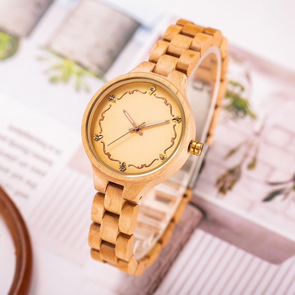 Reloj de madera para mujer, creativo reloj de madera para mujer, reloj de pulsera para mujer, reloj femenino