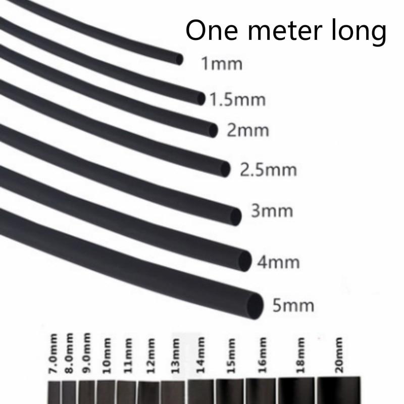 Runde Durchmesser 30mm/35mm/40mm/50mm/60mm/70mm/80mm/90mm Länge 1M Schrumpf Schlauch Schrumpf Schlauch Schwarz Draht Wrap