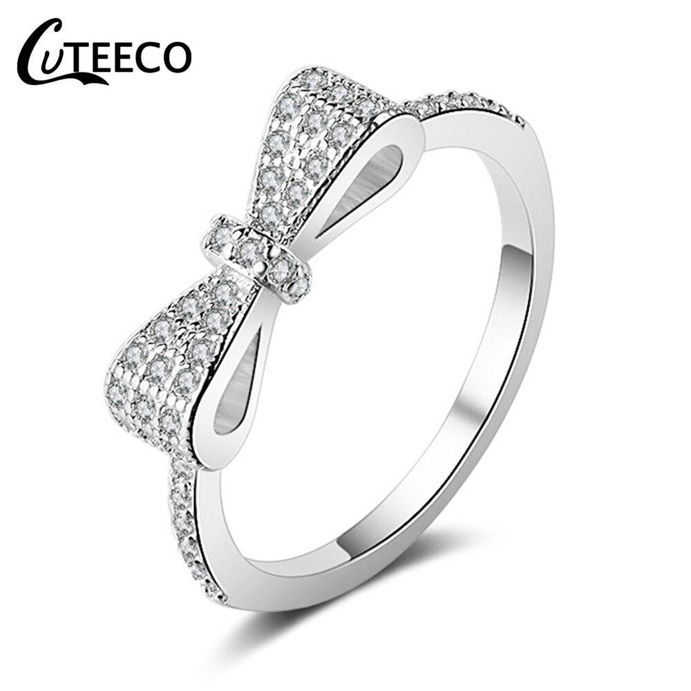 Anillos de boda CUTEECO de lujo con lazo con cristales para mujer, circonio cúbico adecuado para anillo de marca, joyería de compromiso, regalo de San Valentín