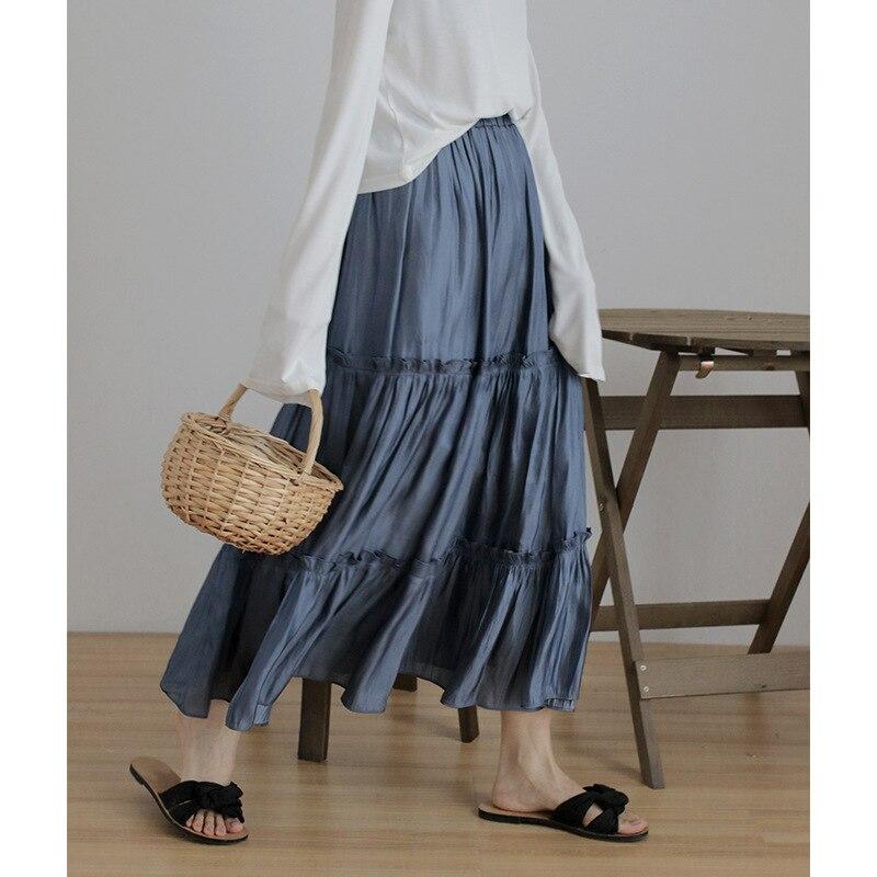 Faldas Mujer Cupro Lino Faldas largas de algodón cintura elástica plisada Maxi Faldas playa Boho Vintage verano Faldas Saia