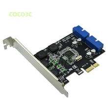 PCI-e 2 ports 19pin USB kopfkarte PCI express zu Dual 20 Pin USB 3.0 Männlichen ports Controller Karte Unterstützt Low Profile halterung