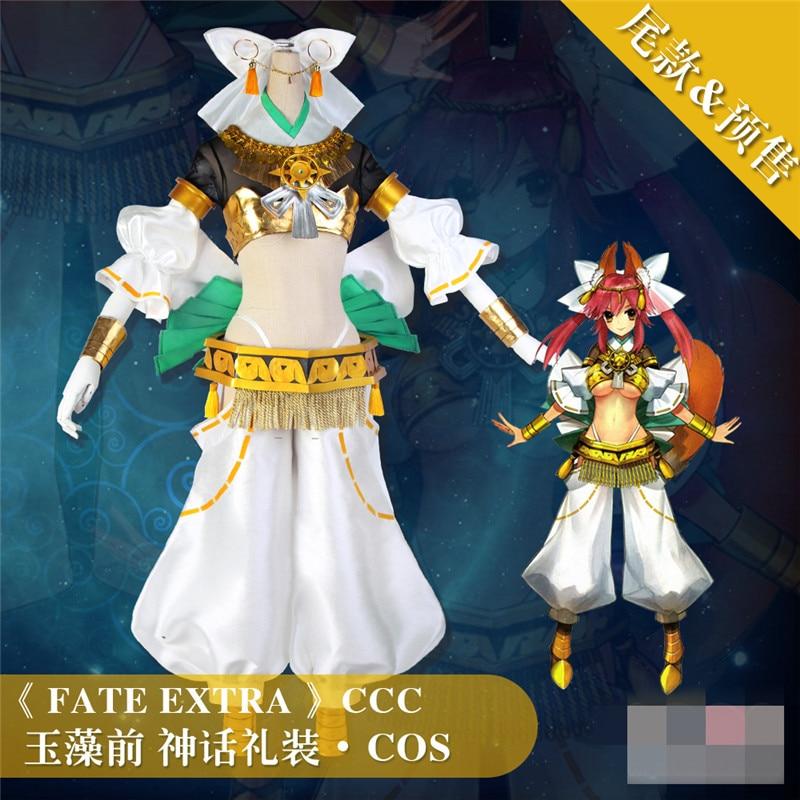 FGO destino grand orden Tamamo no Mae de cosplay blanco superficie cabello dorado traje Cosplay Halloween