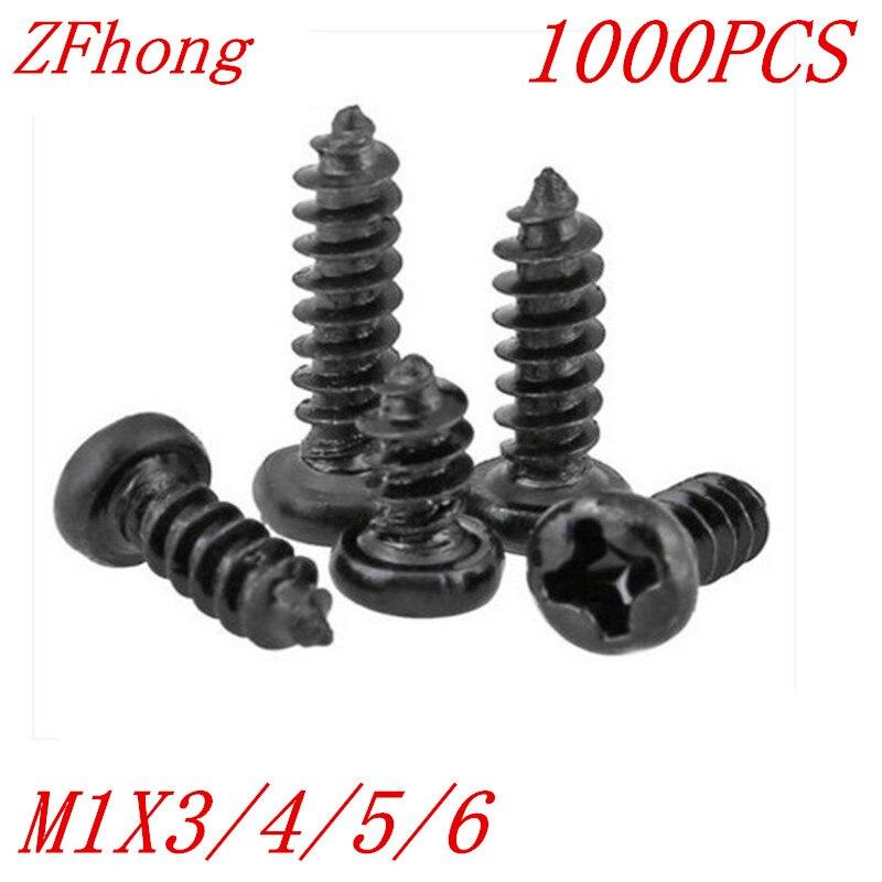 1000 Uds. M1 * 3/4/5/6 1mm tornillo micro electrónico negro con cabeza redonda phillips empotrada, tornillo de rosca automático