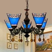 European modern Mediterranean Tiffany blue antique restaurant bedroom bar club glass 5 chandeliers.