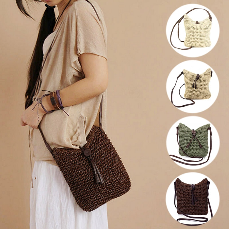 New Fashion Woven Shoulder Bags Straw Summer Women Weave Crossbody Beach Travel Handbag Female Bag Women Messenger Bags Bolsa