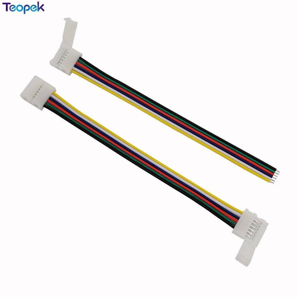 10 Uds. 6pin RGB CCT LED conector 6 pin 12mm de ancho sin soldadura adaptador para RGB + CCT LED tira 1 Clip o 2 Clip conector fácil