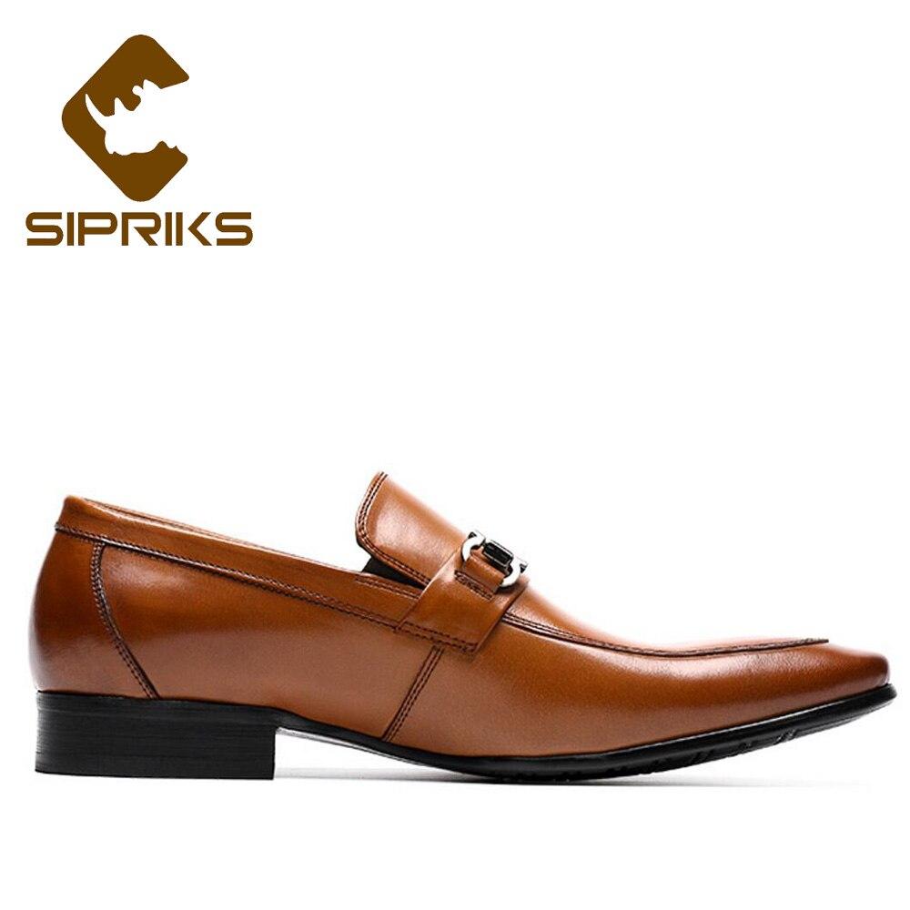 Sipriks-أحذية جلدية أصلية للرجال ، أحذية بدون أربطة ، كلاسيكية ، مدببة ، بدلة عمل ، أزياء