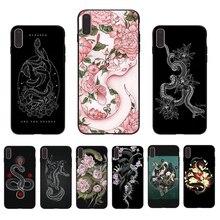 IMIDO fleur et serpent art à motifs souple silicone coque de téléphone pour iphone 7 8 6 5 X XS XR XSmax 6 s/6/7/8 plus 5/6 S SE coque