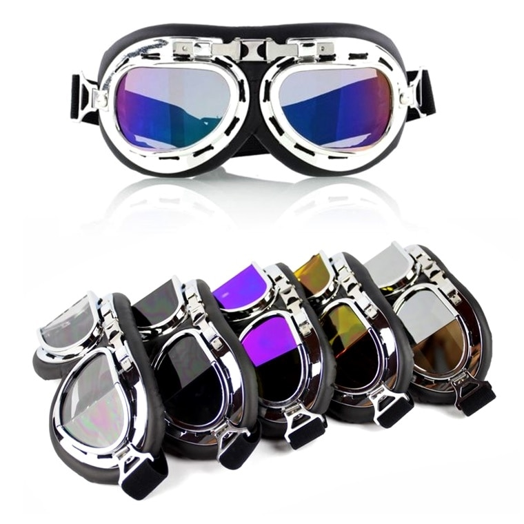 Vintage Aviator Goggles Ski Snowboard Skating Snowmobile Anti-UV Sunglasses Retro Flying Pilot Jet Helmet Glasses Eyewear UV400