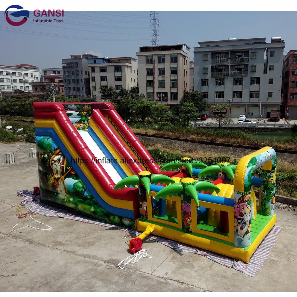 Tobogán inflable gigante de la ciudad de la diversión de 12x5x6 m, tobogán inflable del paraíso Animal, tobogán inflable para niños