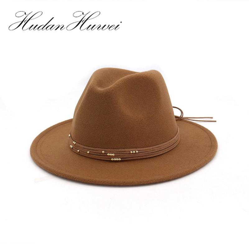 Sombreros de fieltro de lana de ala ancha y plana a la moda con banda de cinta jazz trilby, sombrero formal, Sombrero de Panamá, sombrero flexible para hombres y mujeres