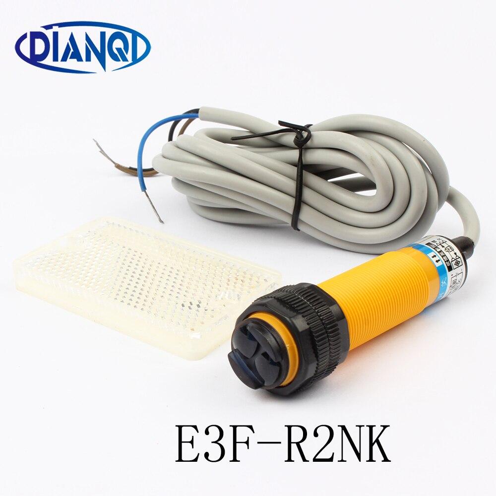 Фотоэлектрический переключатель DIANQI, 1 шт., рефлекторный датчик обратной связи, E3F-R2NK, постоянный ток, NPN, диаметр 18 мм, расстояние 2 м, преобразователь