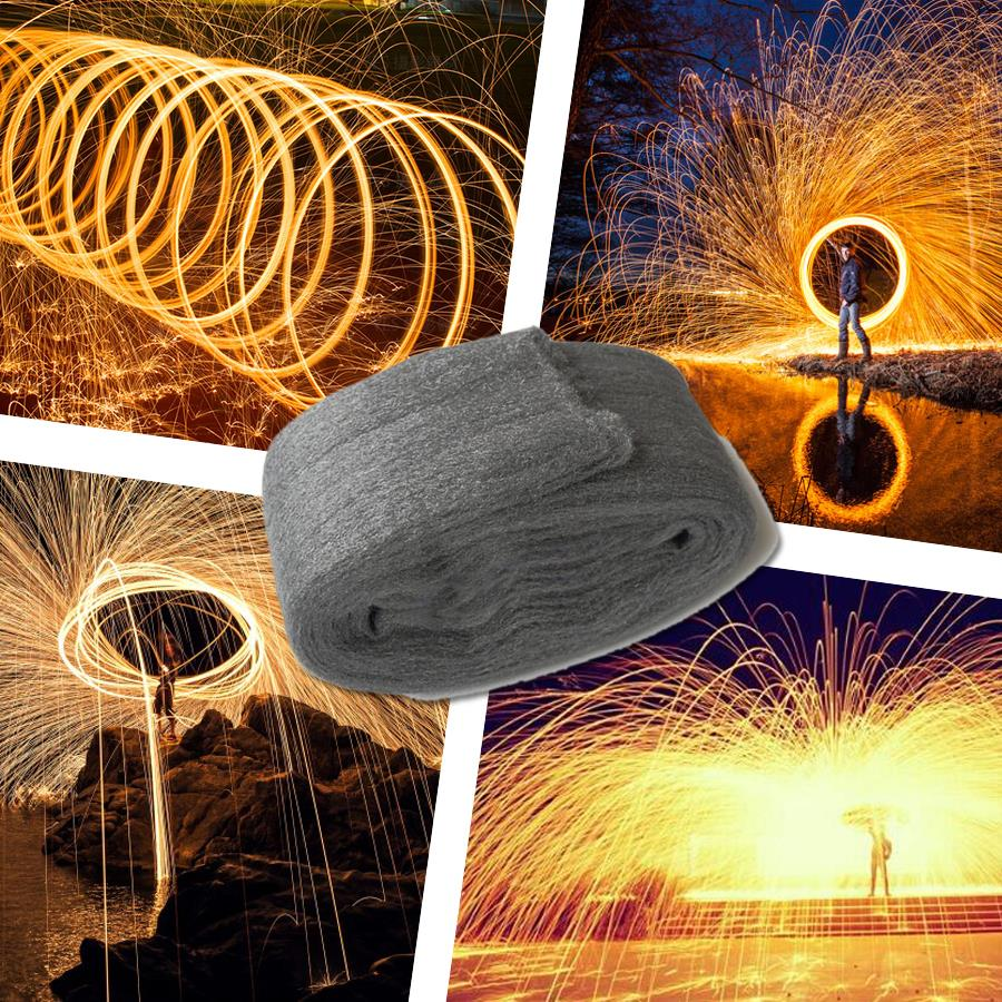 Trending fotografia espetacular fogo foto selfie ferramenta lã de aço de alta qualidade fibra de metal para pintura de luz longa exposição