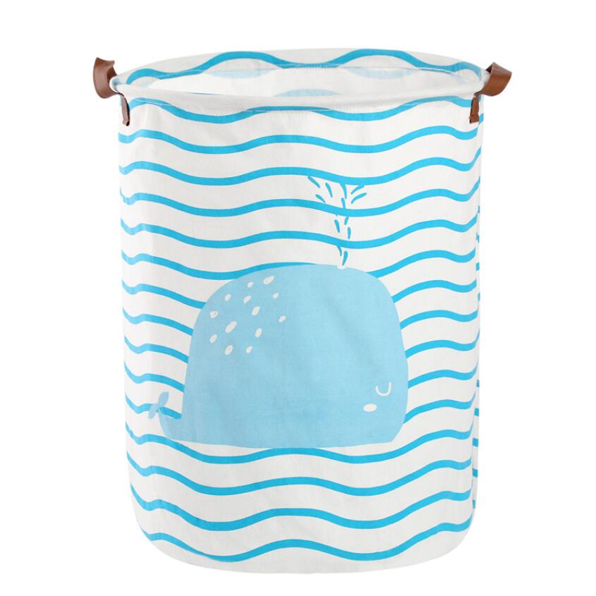 Dibujos animados a rayas ballena plegable impermeable ropa cesta de almacenamiento de ropa cestas decoración del hogar barril juguete organizador cubo
