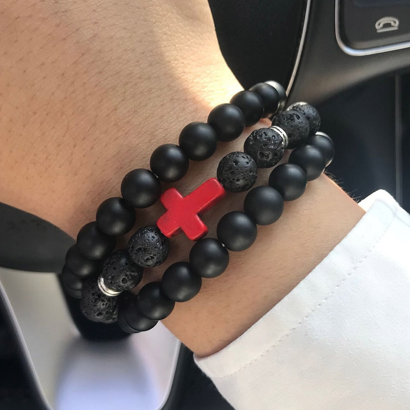 Jesús Cruz encanto hombres pulsera piedra volcánica natural cuentas hechas a mano mujeres pareja amantes pulseras y brazaletes para hombres joyería