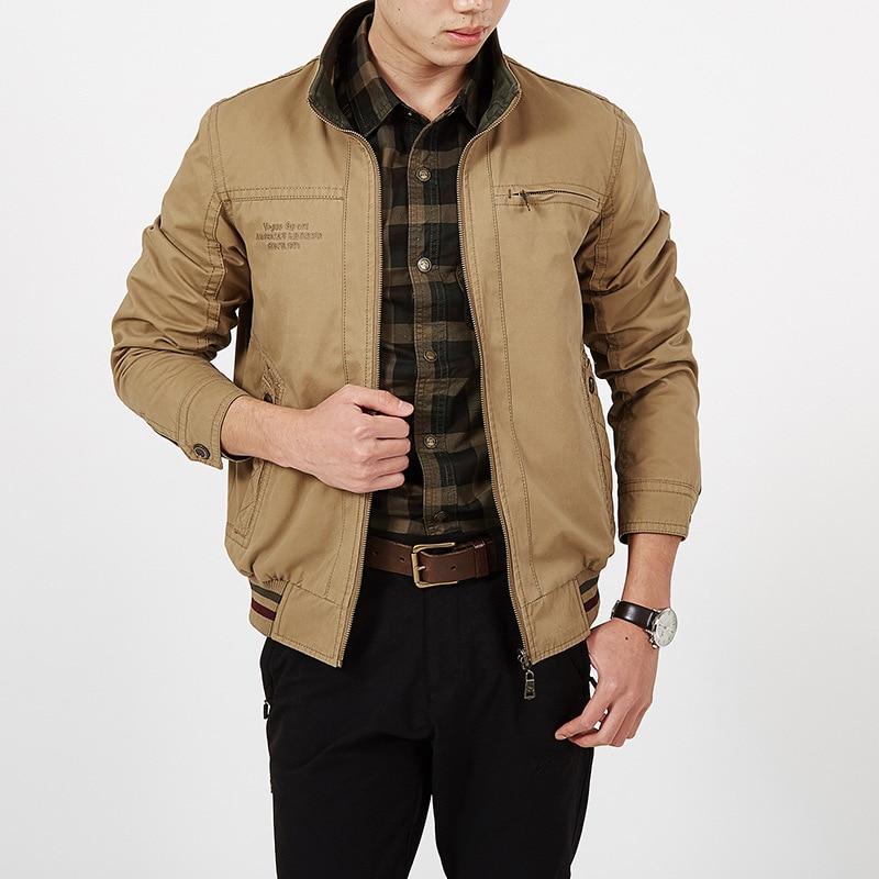 Autumn Jacket Men Double-sided Wear Jacket Men Military Jacket Coat Male 100% Cotton Solid Jaqueta Masculina Plus Size L-5XL