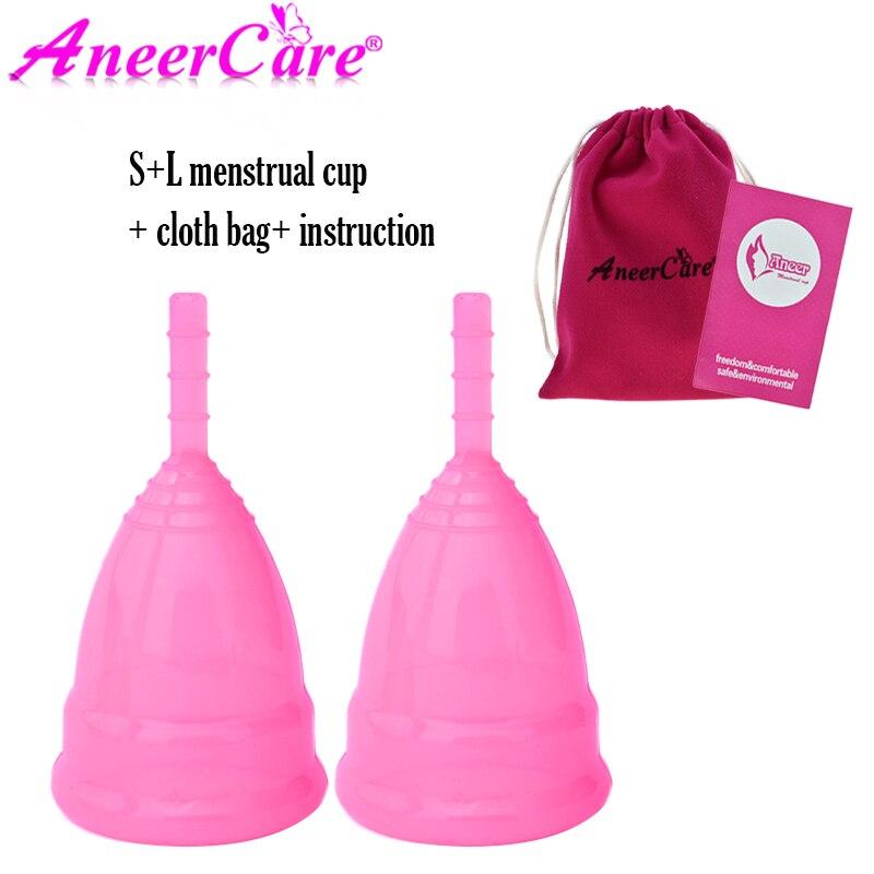2 Pcs Lady Menstrual cup S+L Menstrual Collector Menstruation Cup Feminine Hygiene Period Cup Copa Menstrual De Silicona Medica