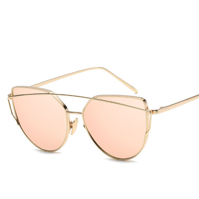 ZXRCYYL Sunglasses Women Luxury Cat eye Brand Design Mirror Rose New Gold Vintage Cateye Fashion sun