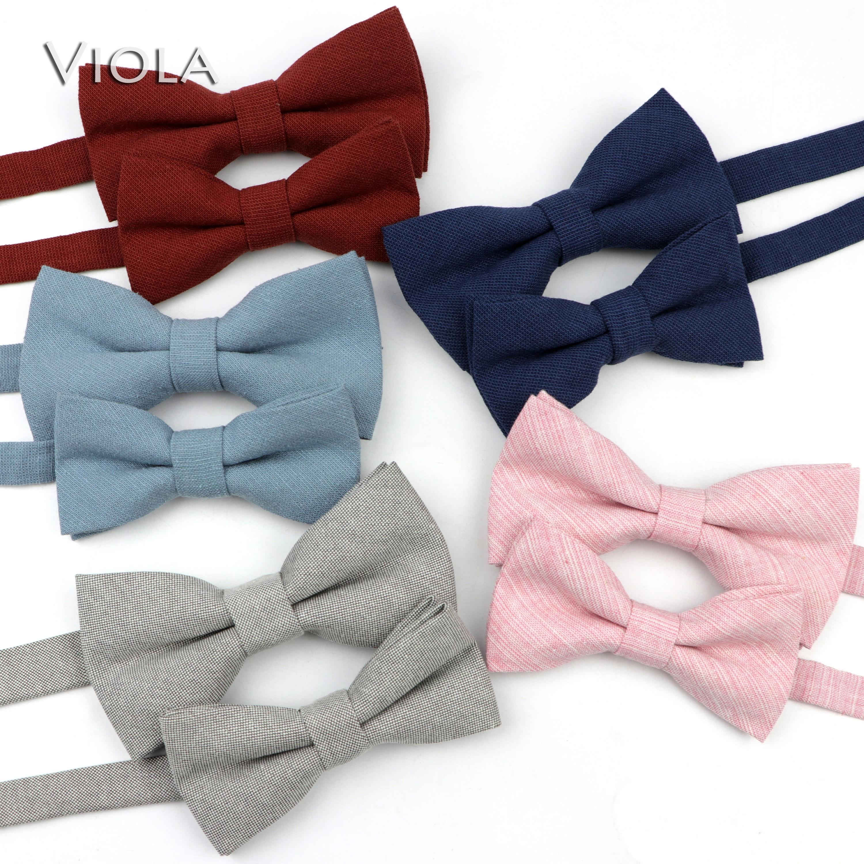Милые однотонные цветные комплекты с галстуком-бабочкой для родителей и детей 100% хлопок, повседневный галстук-бабочка для домашних животных, мужчин, синего, красного, розового цвета, Подарочный аксессуар
