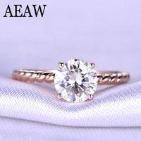 2 carat ct 8mm round cut engagementwedding moissanite diamond ring with twist ringband genuine 10k rose gold