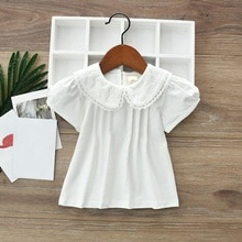 2020 sommer Baby Kleinkind Kleidung Tops Schule Mädchen Bluse Shirts Kinder Baumwolle Weiß T Shirt Kurzarm Kinder T-Shirt Mädchen