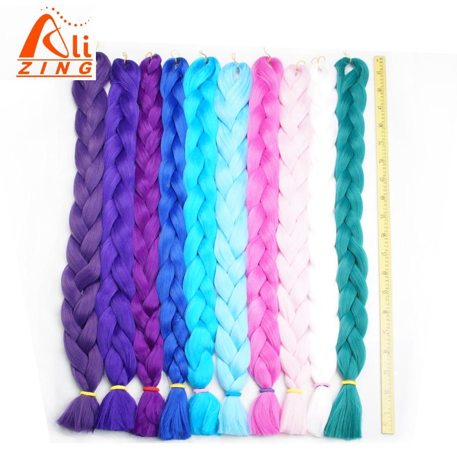 Alizing-Extensión de cabello trenzado de kanekalon, Color puro sintético, 165g, 41 pulgadas,...