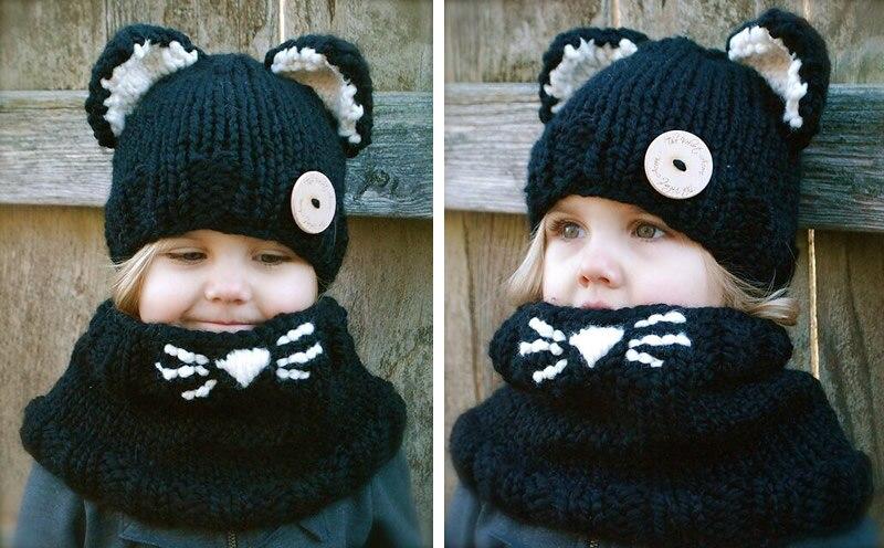 Gorro de punto para bebé niña niño pequeño Panda gorro + bufanda de zorro de dibujos animados Bebe Beanie niños gorras bufandas Accesorios