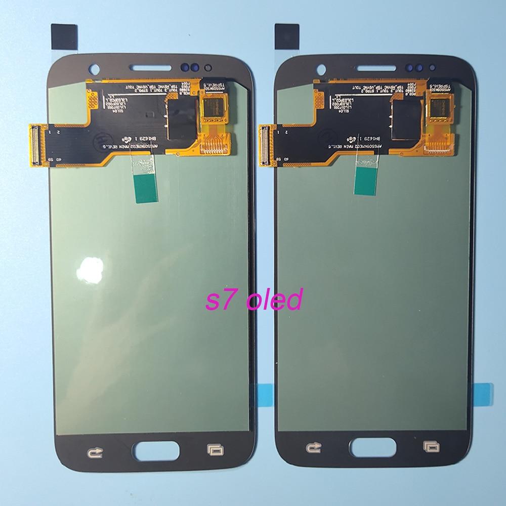 OLED LCD لسامسونج غالاكسي S7 G930 G930F LCD عرض تعمل باللمس محول الأرقام لسامسونج S7 G930F SM-G930F الجمعية