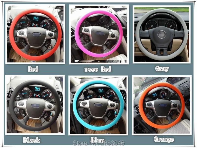 Carro-styling silicone tampa da roda de direcção Do Carro para mercedes w205 peugeot 207 renault megane 3 smart fortwo seat leon acessórios