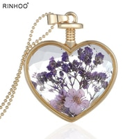 Heart Locket Necklace For Women Simulation Dried Flowers Transparent Glass cannot open necklace Pendants Gold Lockets jewelry