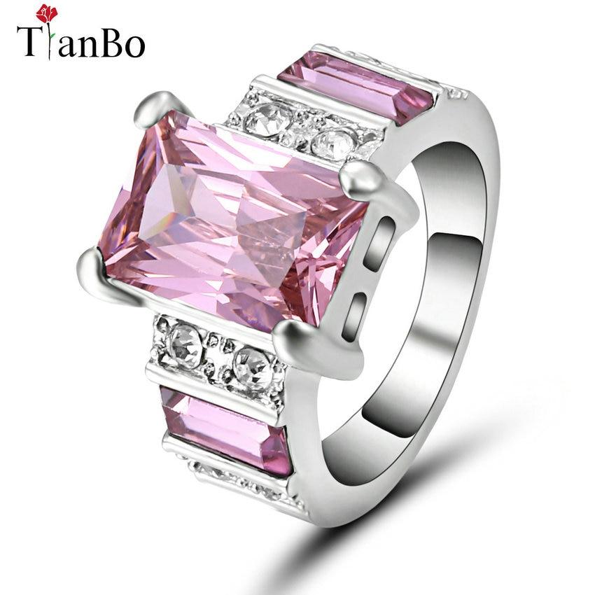 TianBo, nuevo diseño, Color azul cielo/rosa, circón cuadrado para hombre, talla 7, anillo blanco/Negro/dorado, joyería de cristal, anillos de compromiso