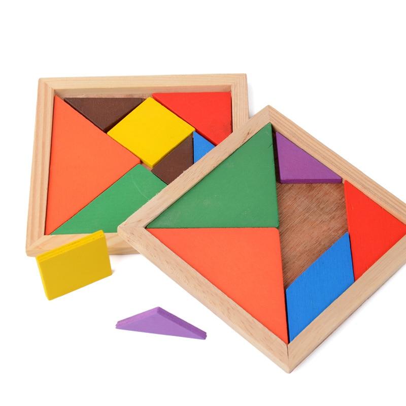 Tangram de madeira 7 peça quebra-cabeça colorido forma geométrica quadrado iq jogo cérebro teaser brinquedos educativos inteligentes para crianças