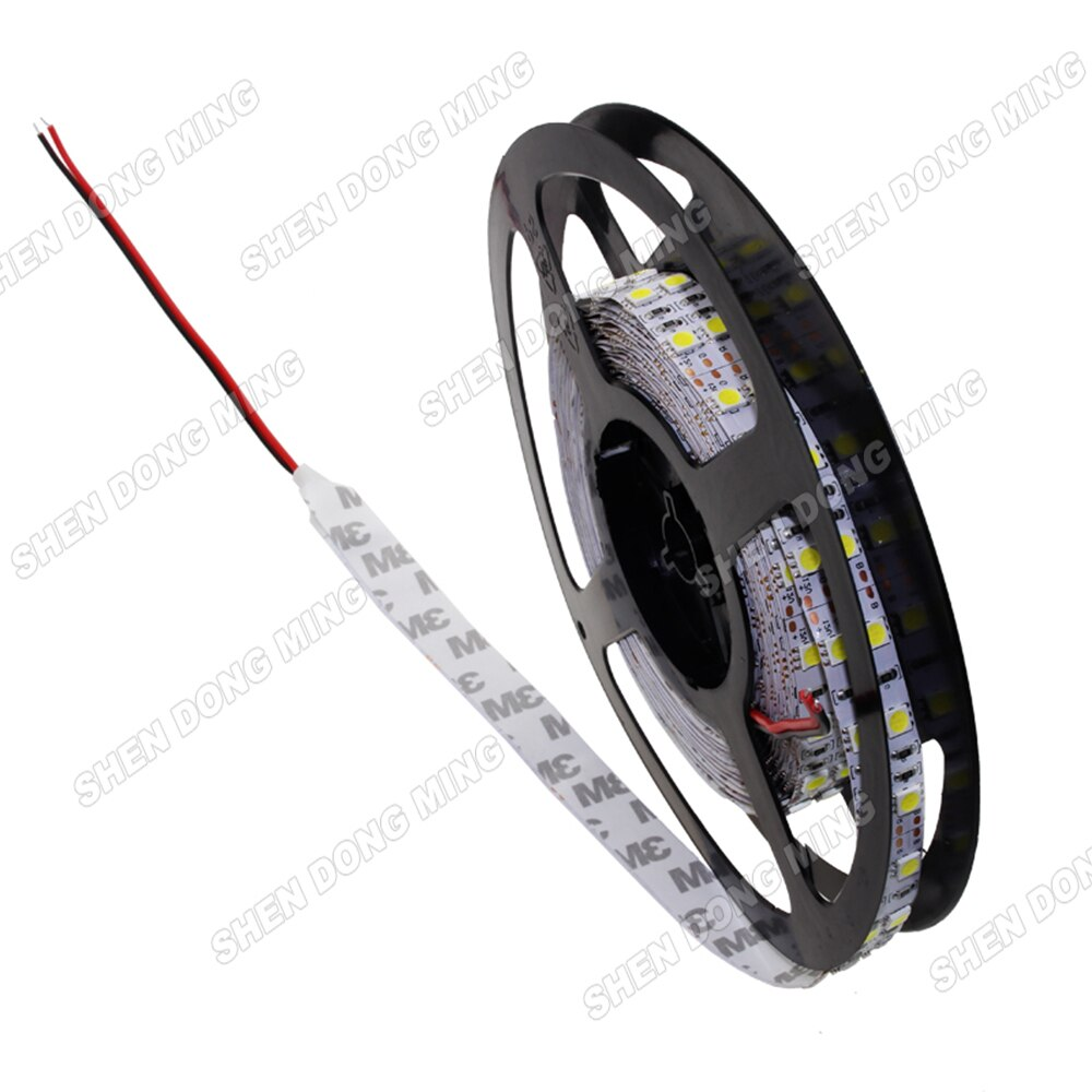 Double rangée LED bande 5050 blanc froid/chaud IP22 LED bande lumière SMD 120 LED s lumière LED bande de corde 24 w/m 5 m/lot RoHS CE
