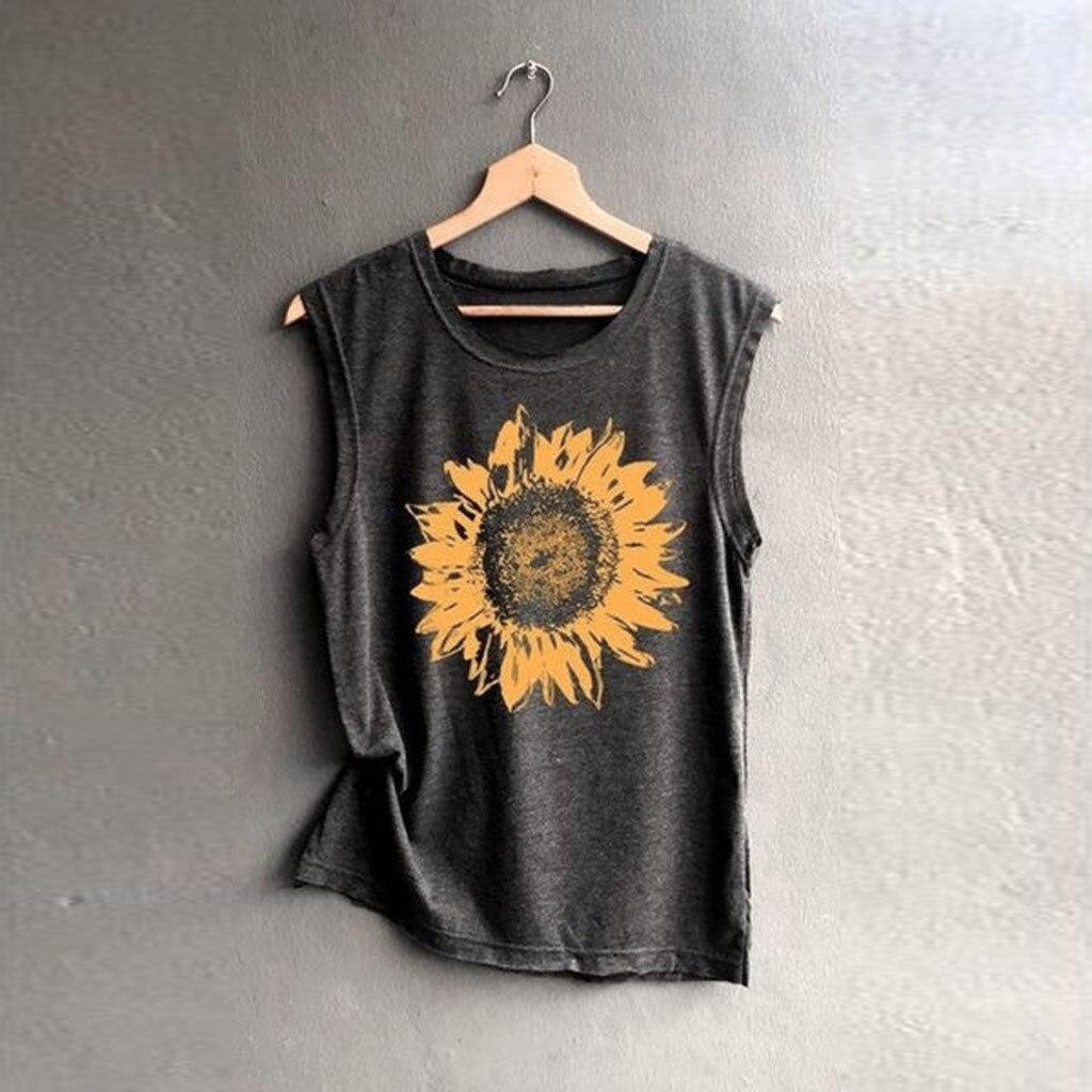Las mujeres sin mangas el girasol impresión Camiseta Mujer Casual camisetas sueltas cómodo suave Top Camiseta Mujer mujeres T camisa