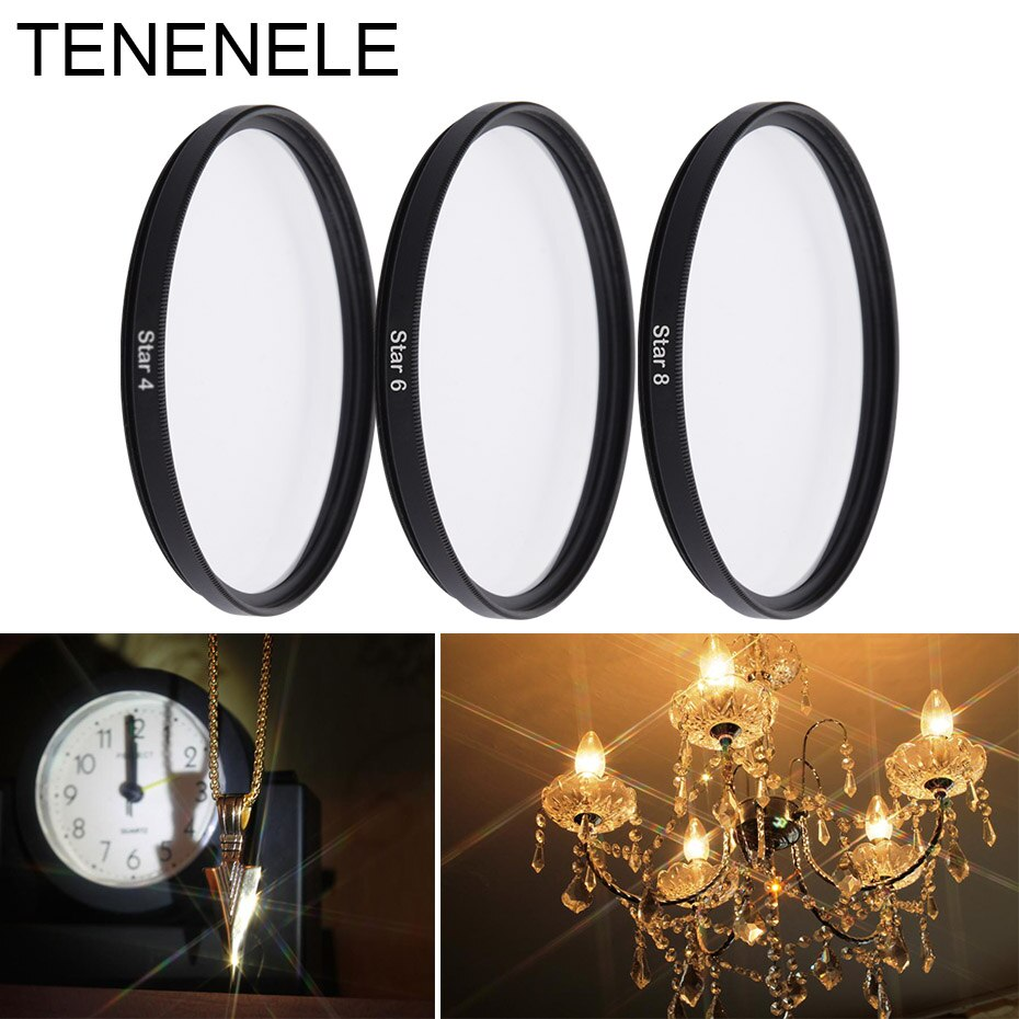 Tenenele estrela 4 6 8 linha filtro ponto cruz câmera filtro conjunto 37 40.5 46 49 52 55 58 62 67 72 77 mm para canon nikon sony dslr