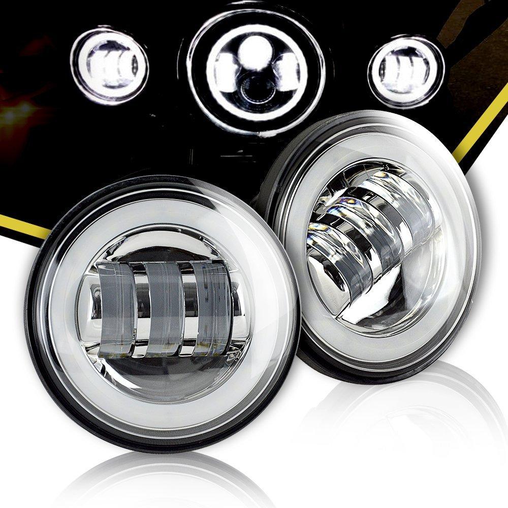 Lámparas antiniebla Led redondas de 4,5 pulgadas, lámpara de cruce cromada, Ojos de Ángel blancas, Halo DRL, 10V-30V, Luz antiniebla Led de 4,5 pulgadas para motocicletas Harley