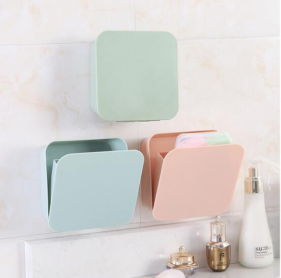Space Rack Bathroom Organizer Cosmetics Storage No Drill Space Saving Pink Blue Plastic Creative Storage Box