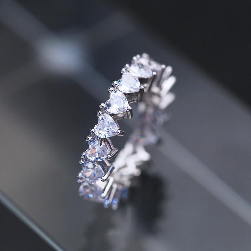 JUNXIN lindos anillos de corazón de cristal para mujer óvalo color plata cuadrado circonita blanca de una fila de joyas de boda
