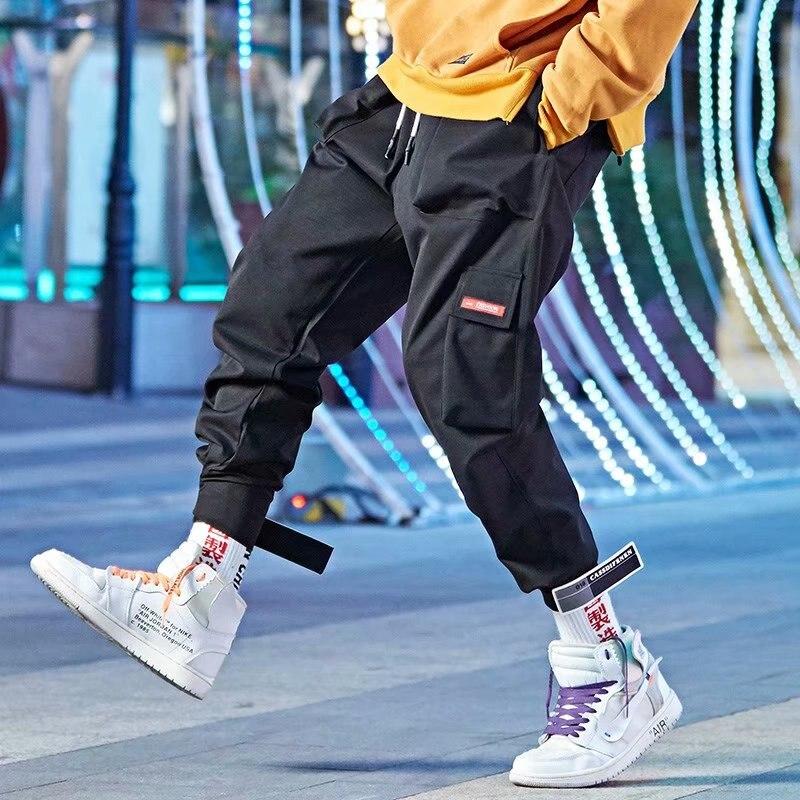 Men Hip Hop Casual Trousers Male  Streetwear Joggers Sweatpants length Pants