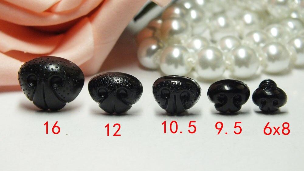 30 juegos de Nariz de perro de juguete de plástico negro para adorno de nariz bonita para muñecas DIY-tamaño mixto