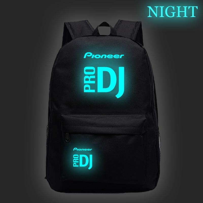 Venda quente pioneer pro dj luminosa escola mochila das mulheres dos homens meninos meninas saco de escola moda novo padrão portátil mochila