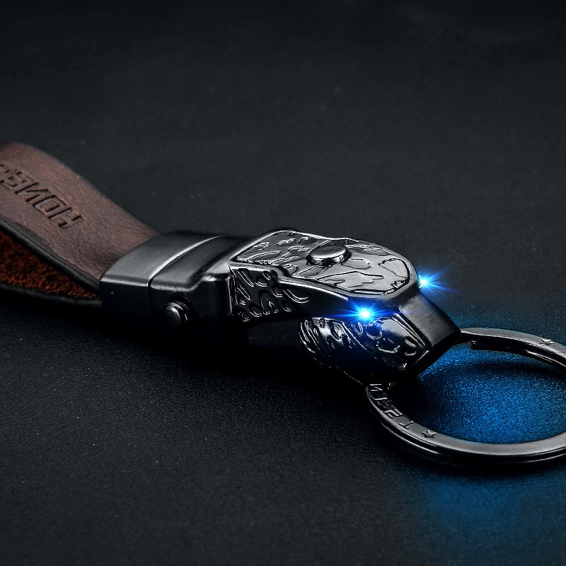 Cabeza de leopardo LED luz llavero coche de cuero genuino Cadena clave titular de alta calidad sleutelhanger chaveiro llaveros hombre